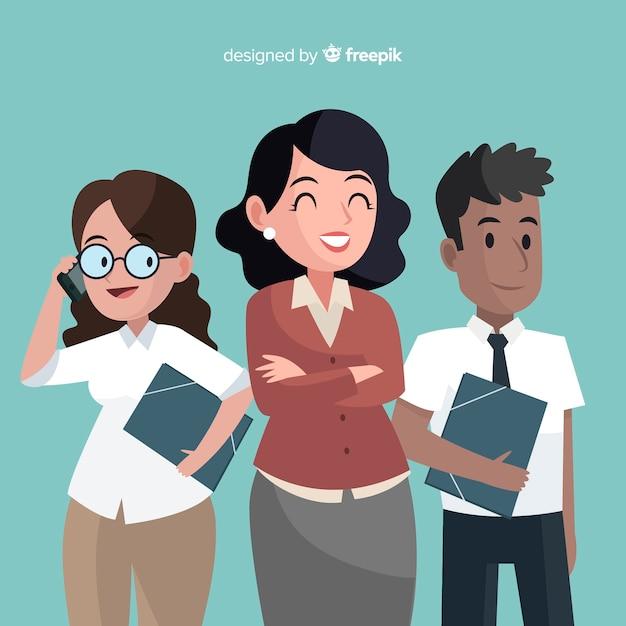 フラットデザインの現代オフィスの人々の構成 無料ベクター