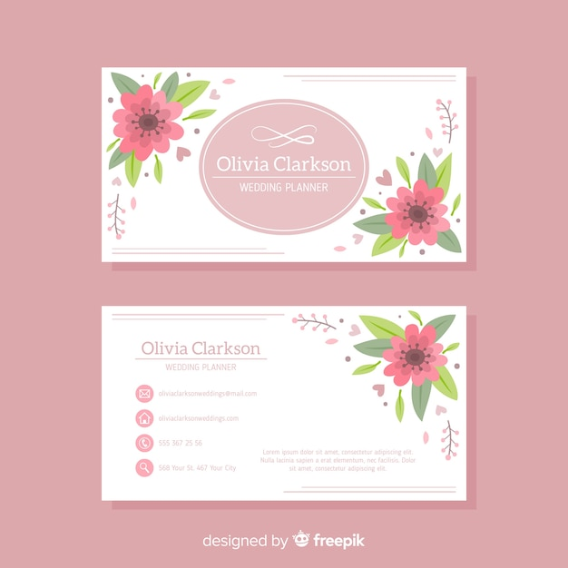 花のデザインとラブリー名刺テンプレート 無料ベクター