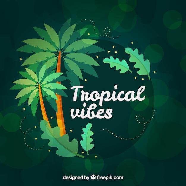 ヤシの木とカラフルな熱帯の背景 無料ベクター