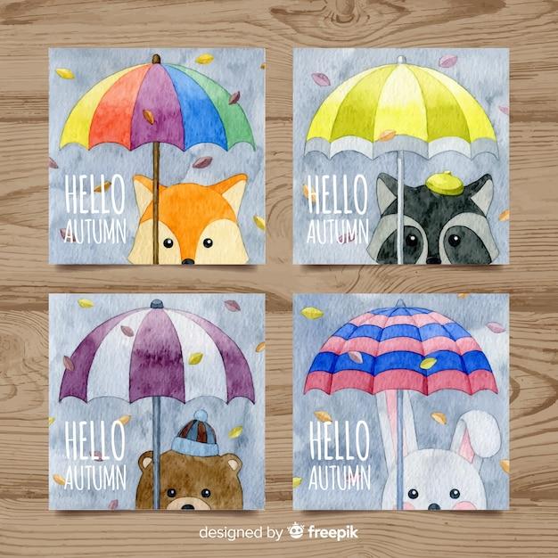 Коллекция осенних карточек с милыми животными в акварельном стиле Бесплатные векторы