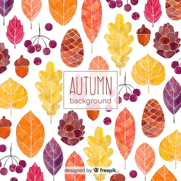 水彩スタイルの美しい秋の背景 無料ベクター
