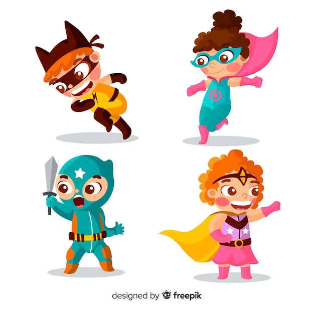 様々なスーパーヒーローの子供のセット 無料ベクター