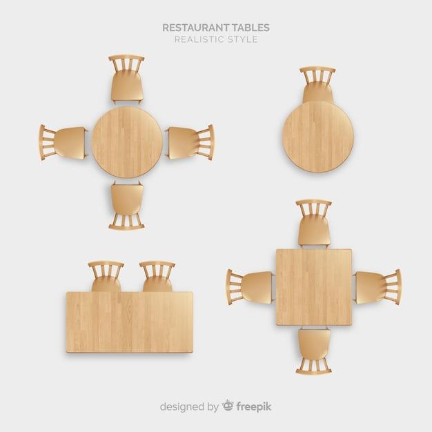 現実的なデザインの空のレストランテーブルのトップビュー 無料ベクター