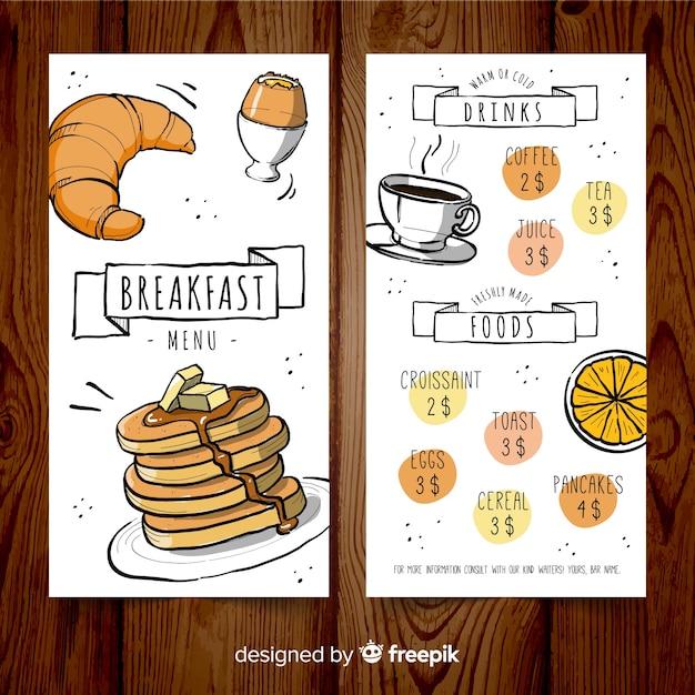 手描きの朝食メニューのテンプレート 無料ベクター