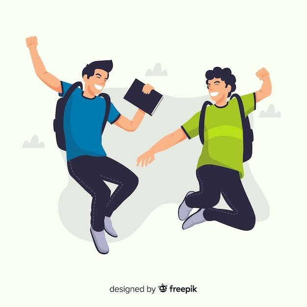Счастливые студенты прыгают с плоским дизайном Бесплатные векторы