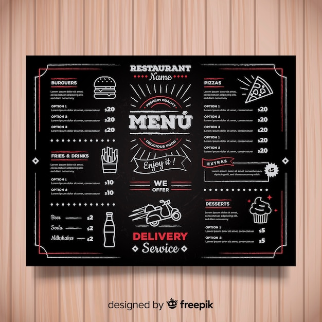 カラフルな手描きのレストランメニューテンプレート 無料ベクター