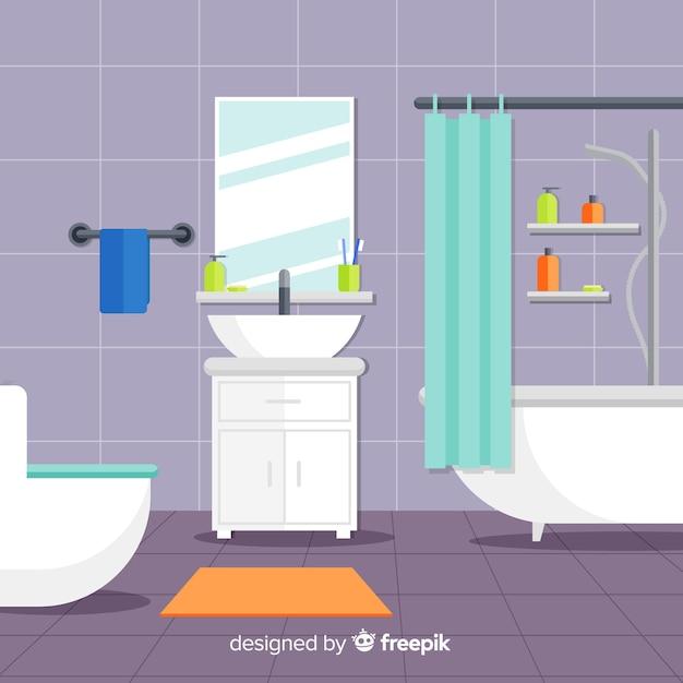 フラットデザインのカラフルなバスルームインテリア 無料ベクター