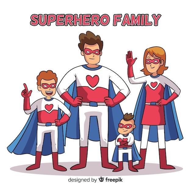 スーパーヒーローファミリー 無料ベクター