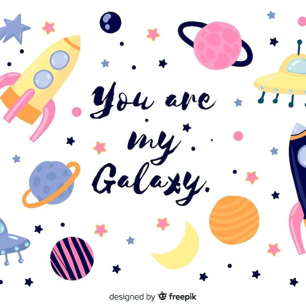 素敵な手描きの銀河の背景 無料ベクター