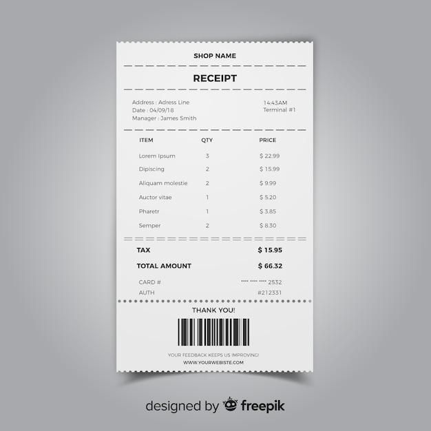 現実的なデザインのレシートテンプレートコレクション 無料ベクター