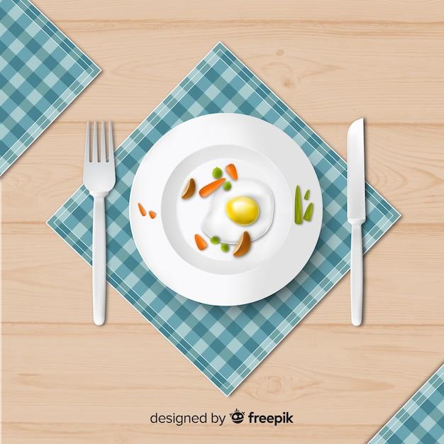現実的なデザインのエレガントなレストランのテーブルのトップビュー 無料ベクター
