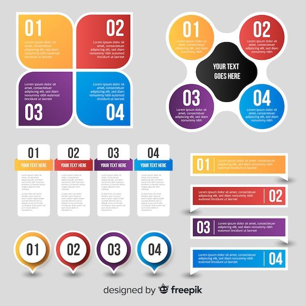 インフォグラフィックデザイン要素の収集 無料ベクター