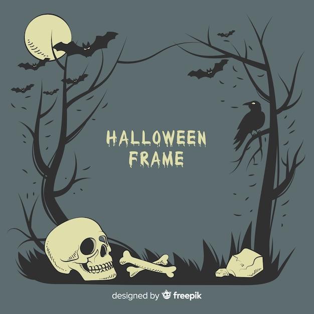 Жуткая рамка хэллоуина с винтажным стилем Бесплатные векторы