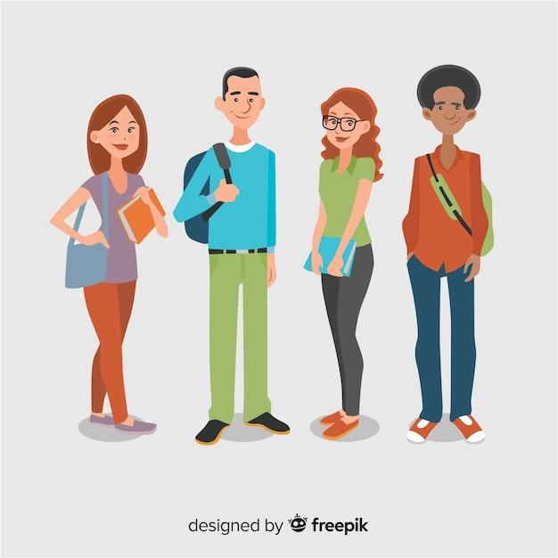 フラットデザインの幸せな学生のグループ 無料ベクター