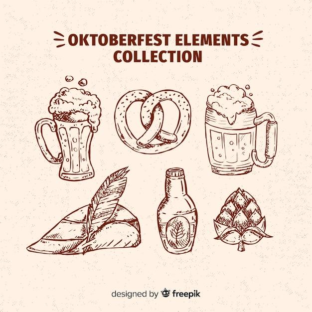 Коллекция элементов октоберфест в стиле ручной работы Бесплатные векторы