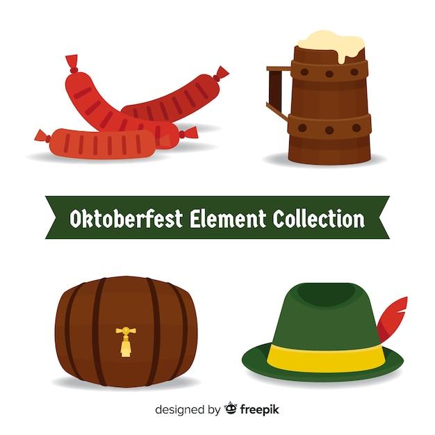 フラットデザインのオクトーバーフェスト要素コレクション 無料ベクター