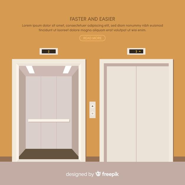 フラットスタイルのオープンドアとクローズドドアを備えたエレベータコンセプト 無料ベクター