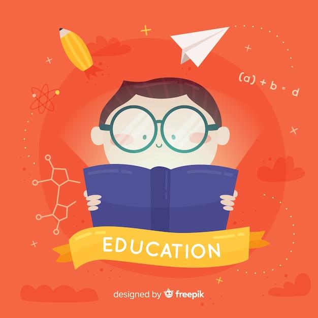 素敵な手描きの教育のコンセプト 無料ベクター