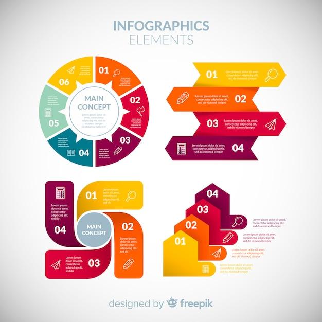平らなデザインのカラフルな情報要素コレクション 無料ベクター