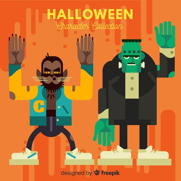 Коллекция персонажей хэллоуина в плоском дизайне Бесплатные векторы