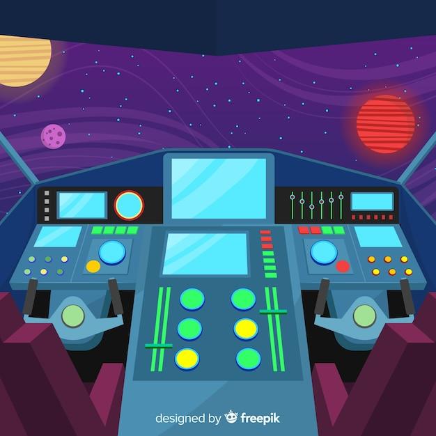 フラットデザインのモダンな宇宙船のインテリアの背景 無料ベクター