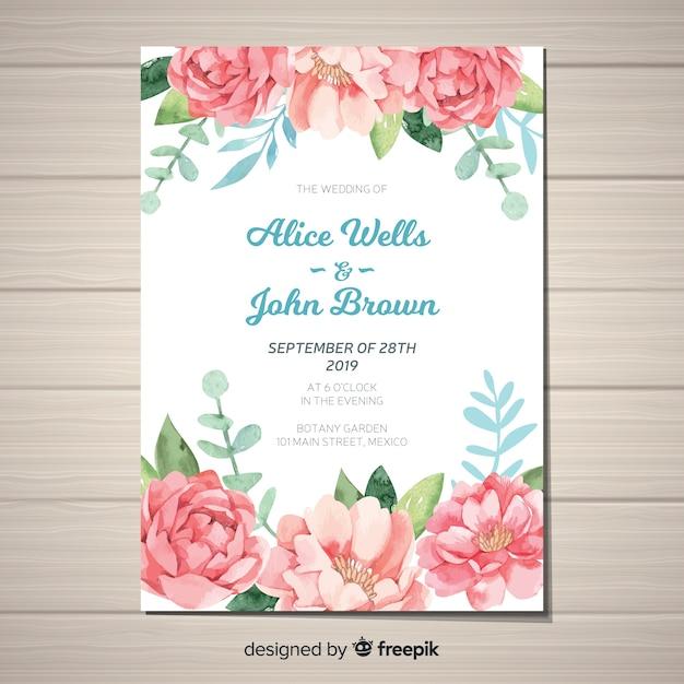 Симпатичный шаблон приглашения на свадьбу с акварельными цветами пиона Бесплатные векторы