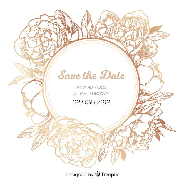 美しい牡丹の花と結婚式の招待状のカバーテンプレート 無料ベクター