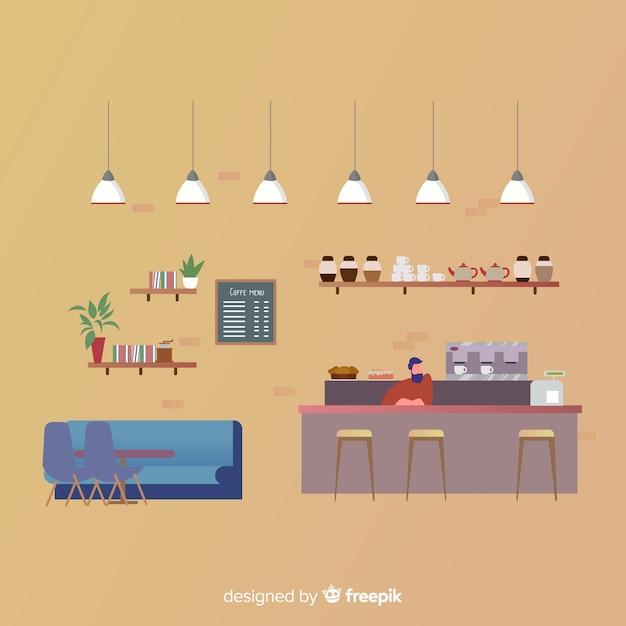 フラットデザインのエレガントなコーヒーショップインテリア 無料ベクター