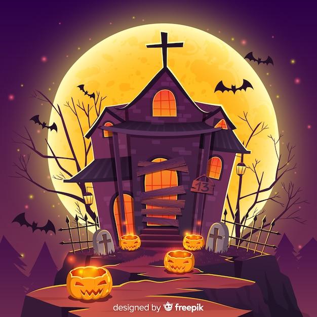 ハロウィーンの幽霊のある家の背景とグラデーションライト 無料ベクター