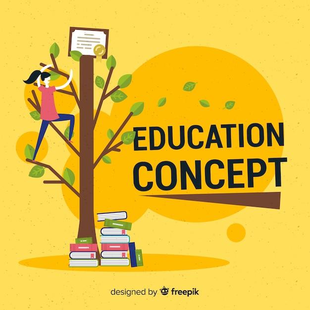 フラットデザインの素敵な教育コンセプト 無料ベクター