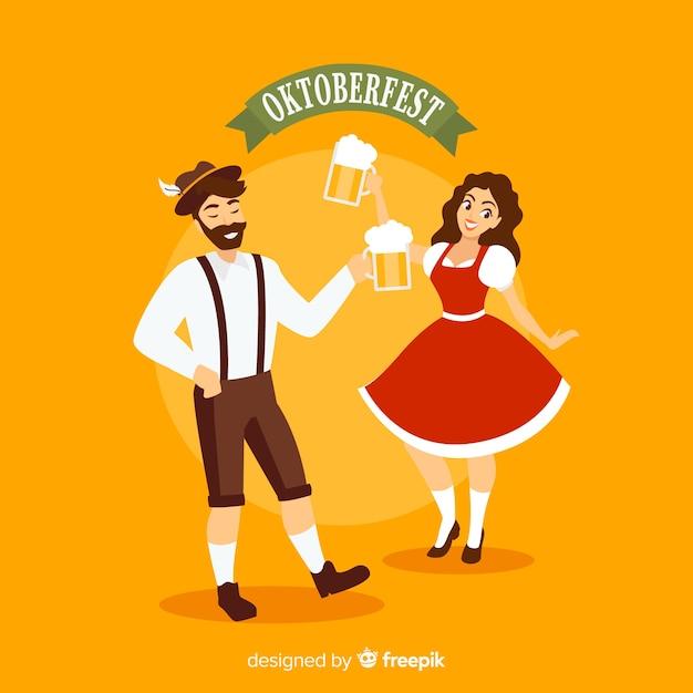 お祝いのカップルとオクトーバーフェストの背景 無料ベクター