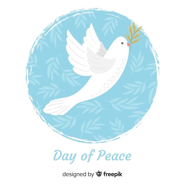 鳩と平和の日の背景 無料ベクター