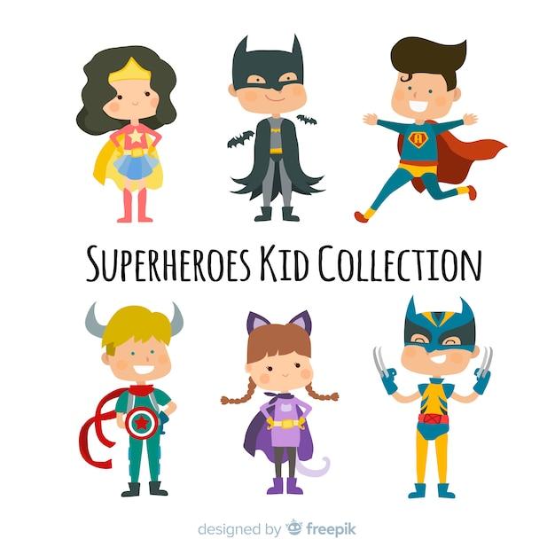 スーパーヒーローの子供のパック 無料ベクター