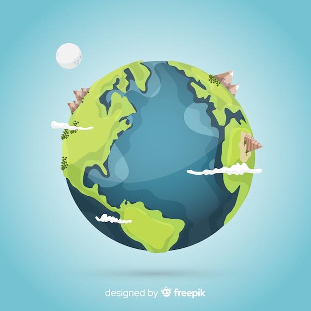 宇宙からのクリエイティブな地球デザイン 無料ベクター