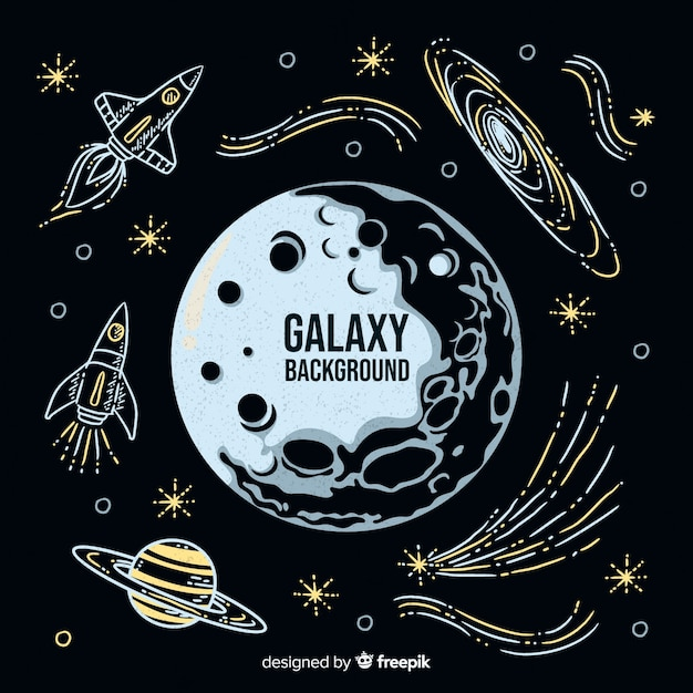現代手描き銀河の背景 無料ベクター