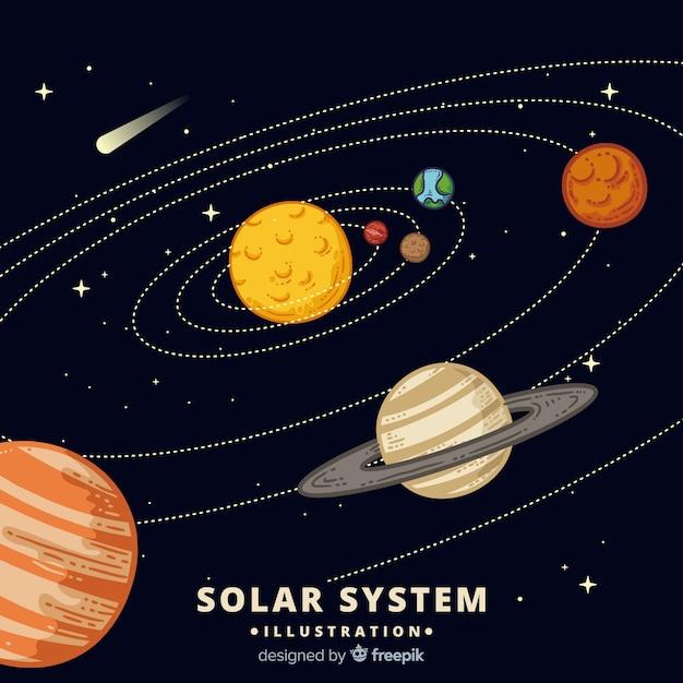 カラフルな手描きの太陽系のスキーム 無料ベクター