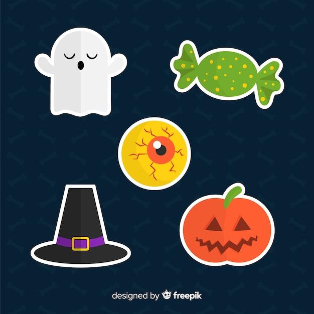 Коллекция элементов хэллоуина в плоском дизайне Бесплатные векторы