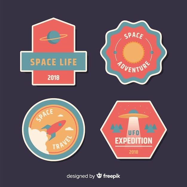 フラットデザインの素敵なスペースバッジコレクション 無料ベクター