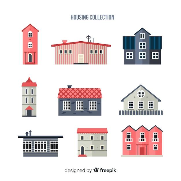 フラットスタイルの住宅コレクション 無料ベクター