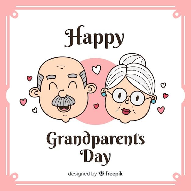 かわいい祖父母の日の背景 無料ベクター