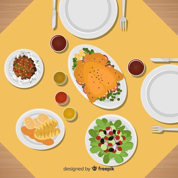 フラットデザインのエレガントなレストランのテーブルのトップビュー 無料ベクター