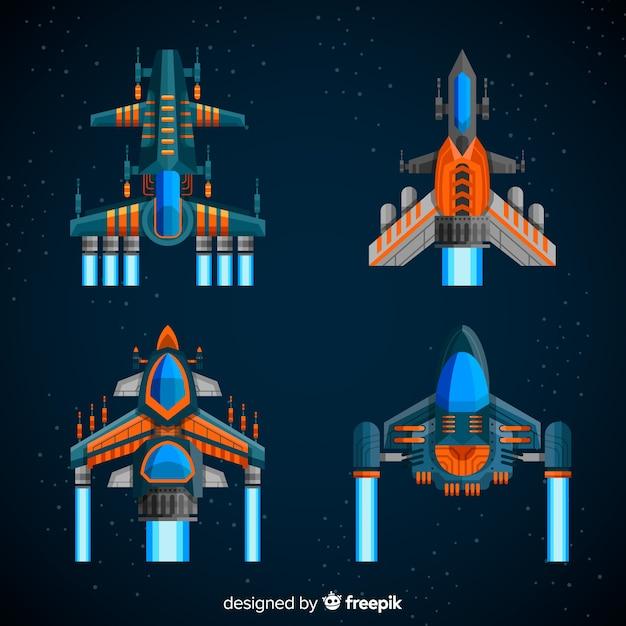 平らなデザインの未来の宇宙船コレクション 無料ベクター