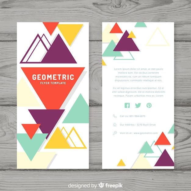 幾何学的デザインの最新ビジネスチラシ 無料ベクター