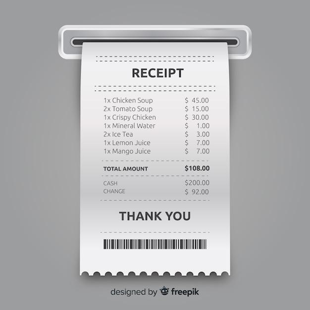Коллекция шаблонов чеков с реалистичным дизайном Бесплатные векторы