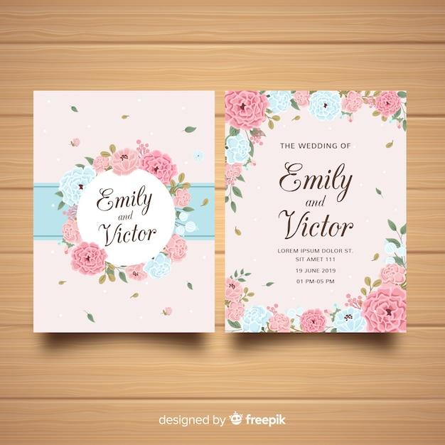 美しい牡丹の花と結婚式の招待状のテンプレート 無料ベクター