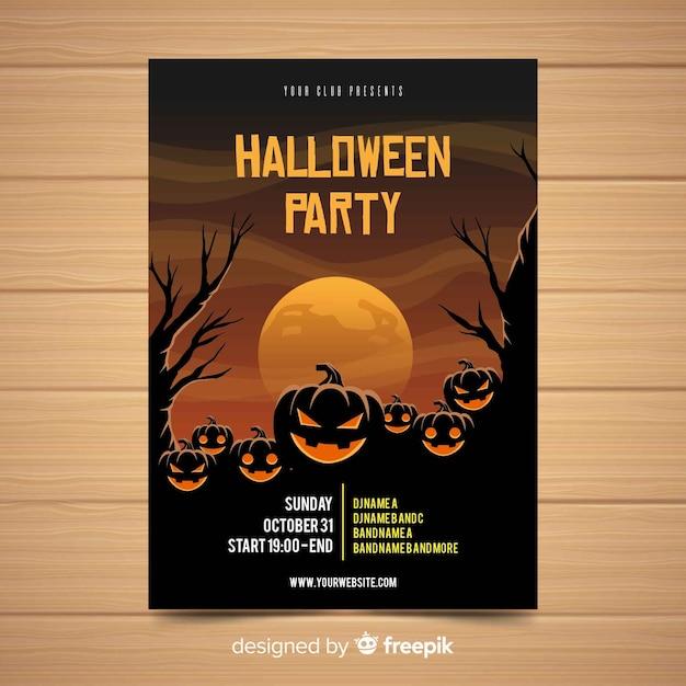 平らなデザインの恐ろしいハロウィンパーティーのポスター 無料ベクター