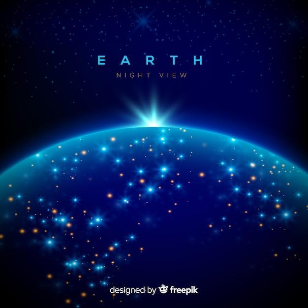 現実的なデザインの惑星の夜景 無料ベクター