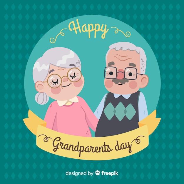 フラットデザインのかわいい祖父母の日の背景 無料ベクター