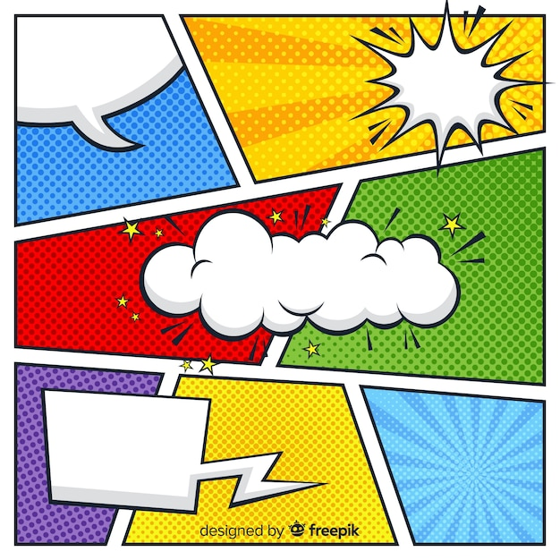 Красочный полутоновый комикс Бесплатные векторы