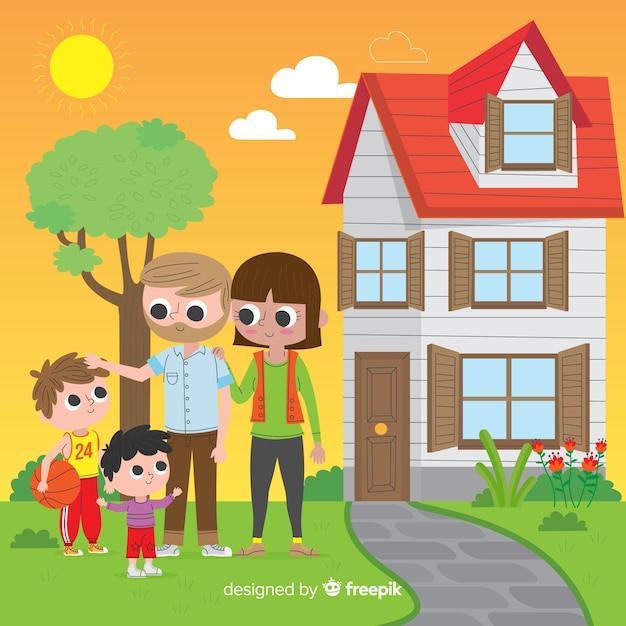 フラットなデザインの素敵な家庭 無料ベクター